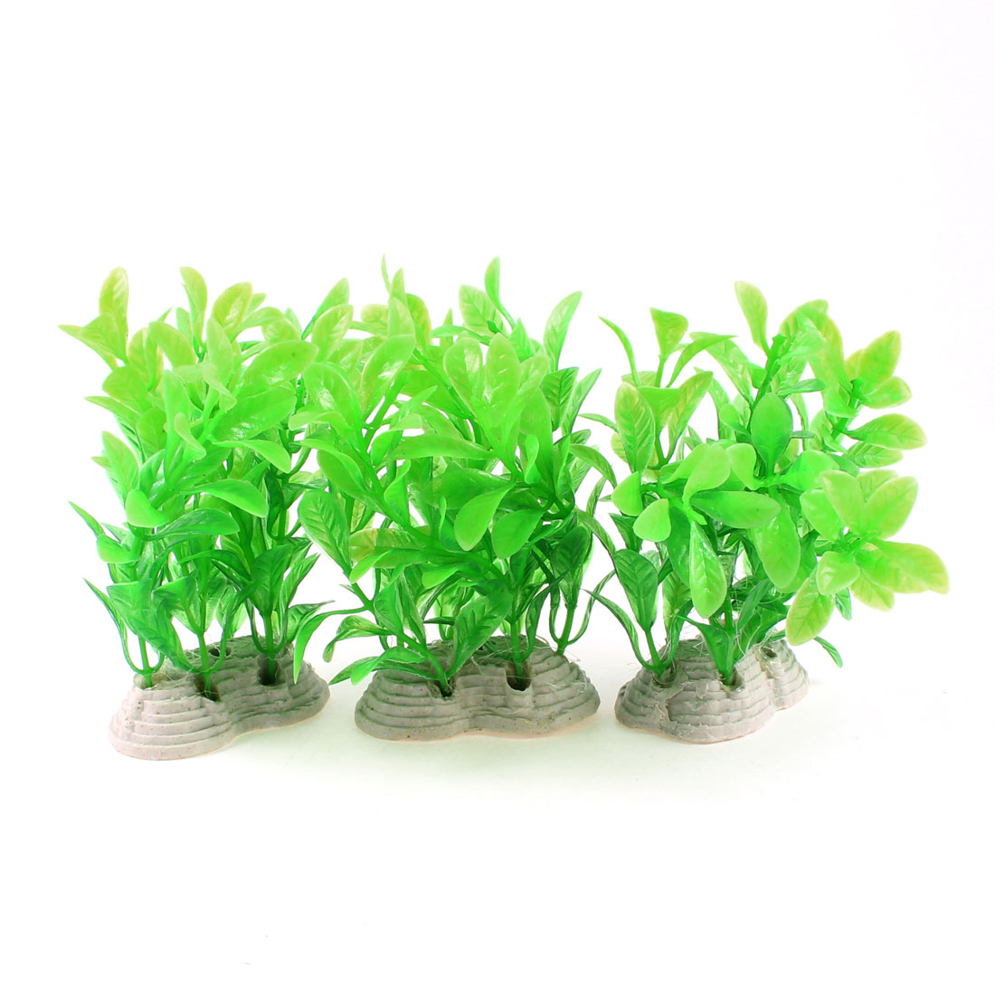 "3 Pcs Fish Tank Decor 4.3"" Height Plactic Underwater Plant Grass Green"