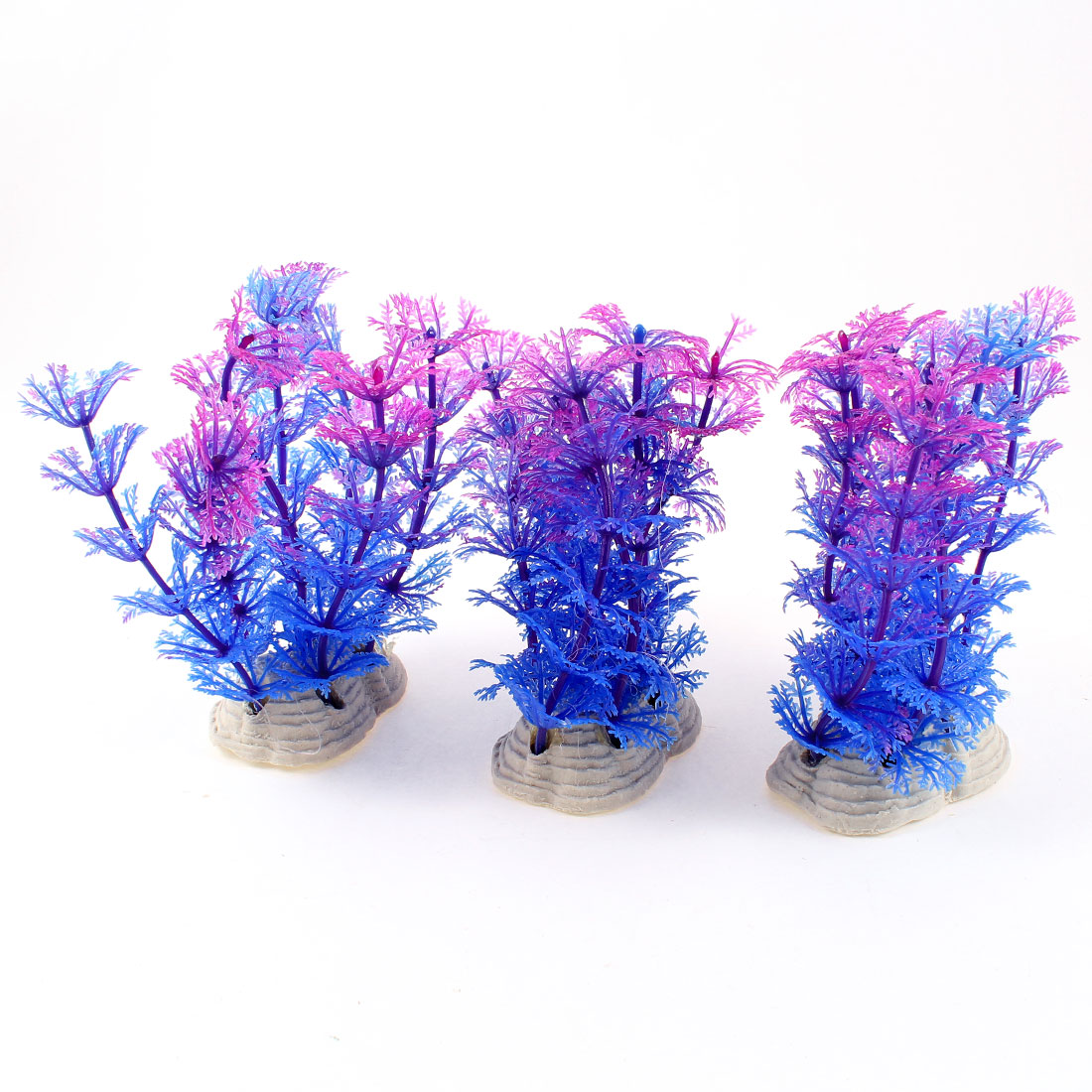 "3 Pcs 3.9"" Height Aquarium Indigo Blue Fuchsia Plastic Underwater Plants Ornament"