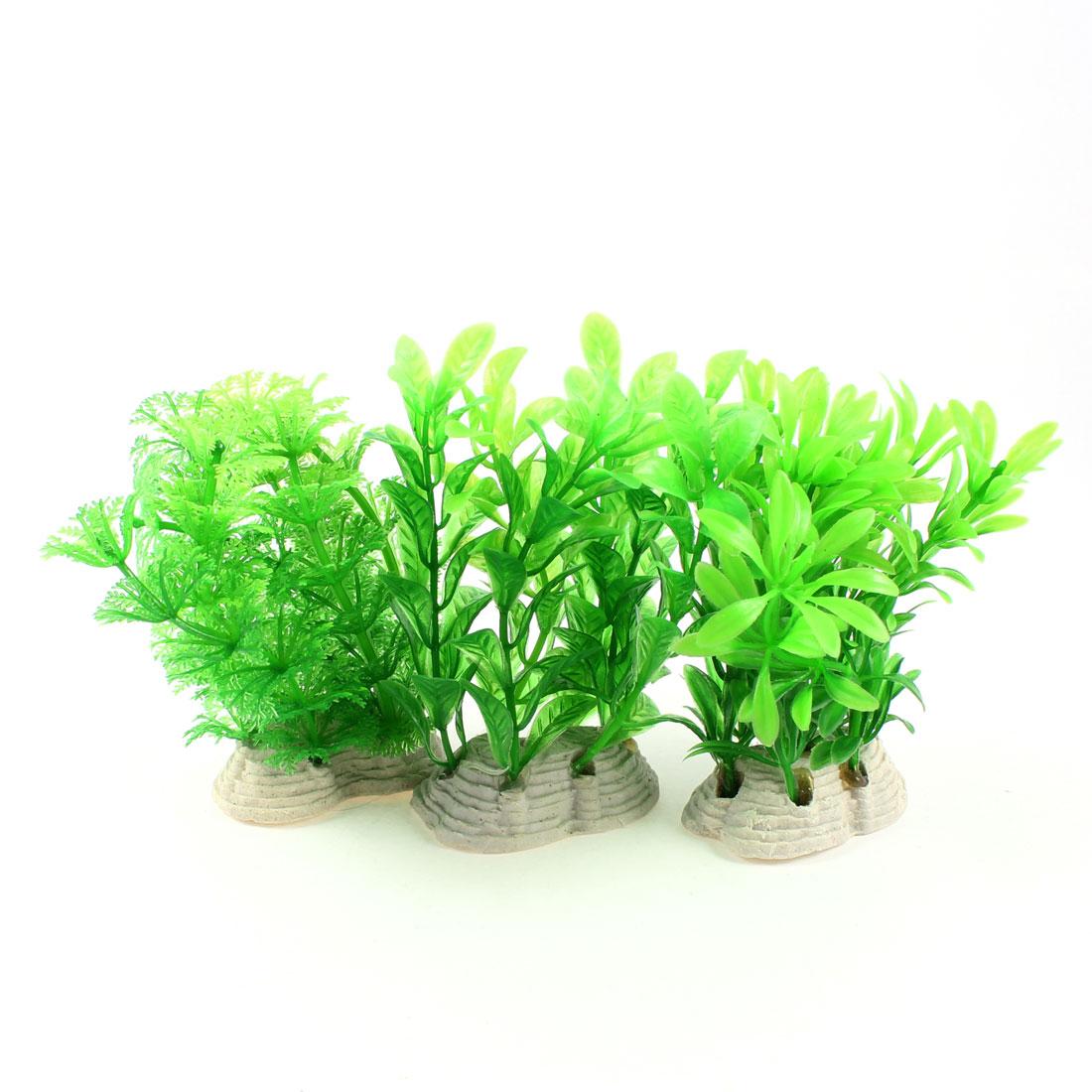 "3 Pcs 4.1"" High Aquarium Aquascaping Plastic Water Plant Green w Ceramic Base"