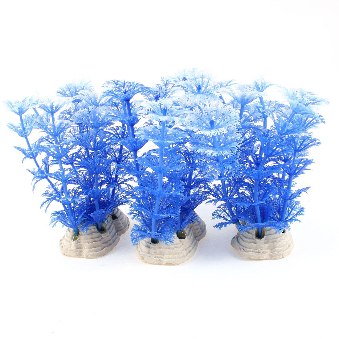 """3 Pcs 4.1"""" Artificial Water Grass Aquarium Plant Decor Blue White"""