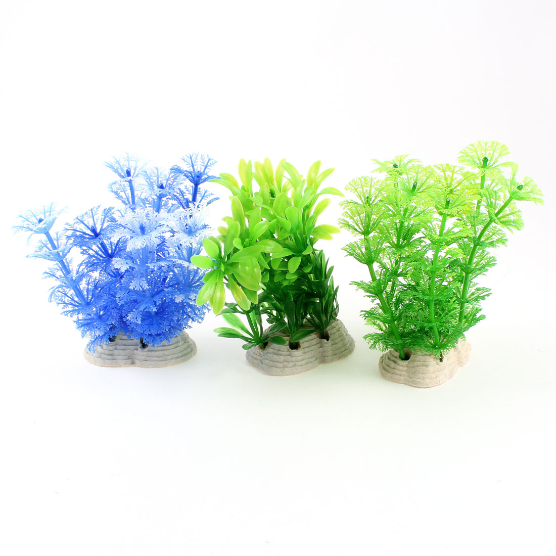 "3 Pcs 3.9"" High Fish Tank Decor Manmade Water Plants Grasses Green Blue"