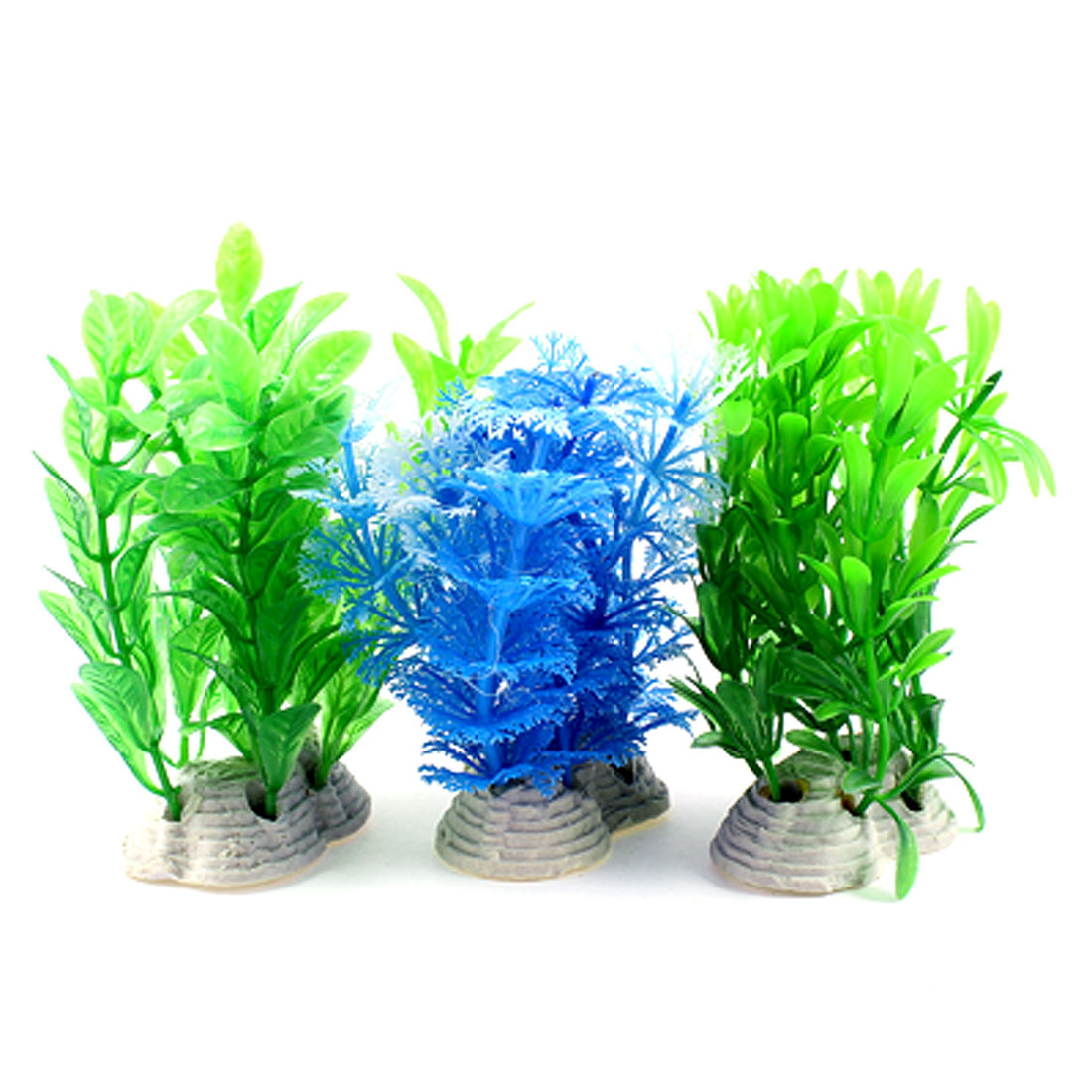 3 Pcs Aquarium Ornament Emulational Underwater Plants Grasses Blue Green