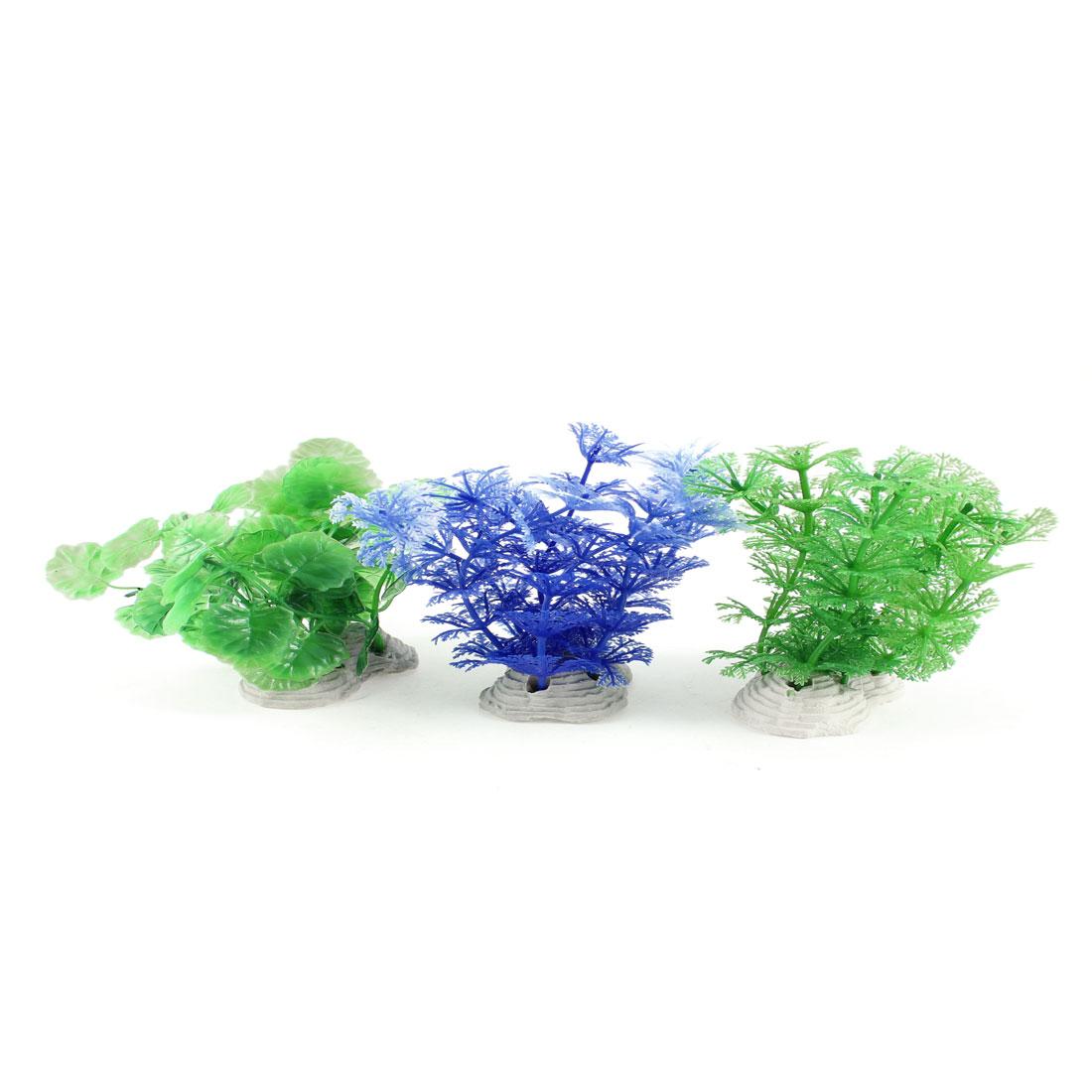3 Pcs Fish Tank Blue Green Plastic Underwater Grasses Plants Decoration