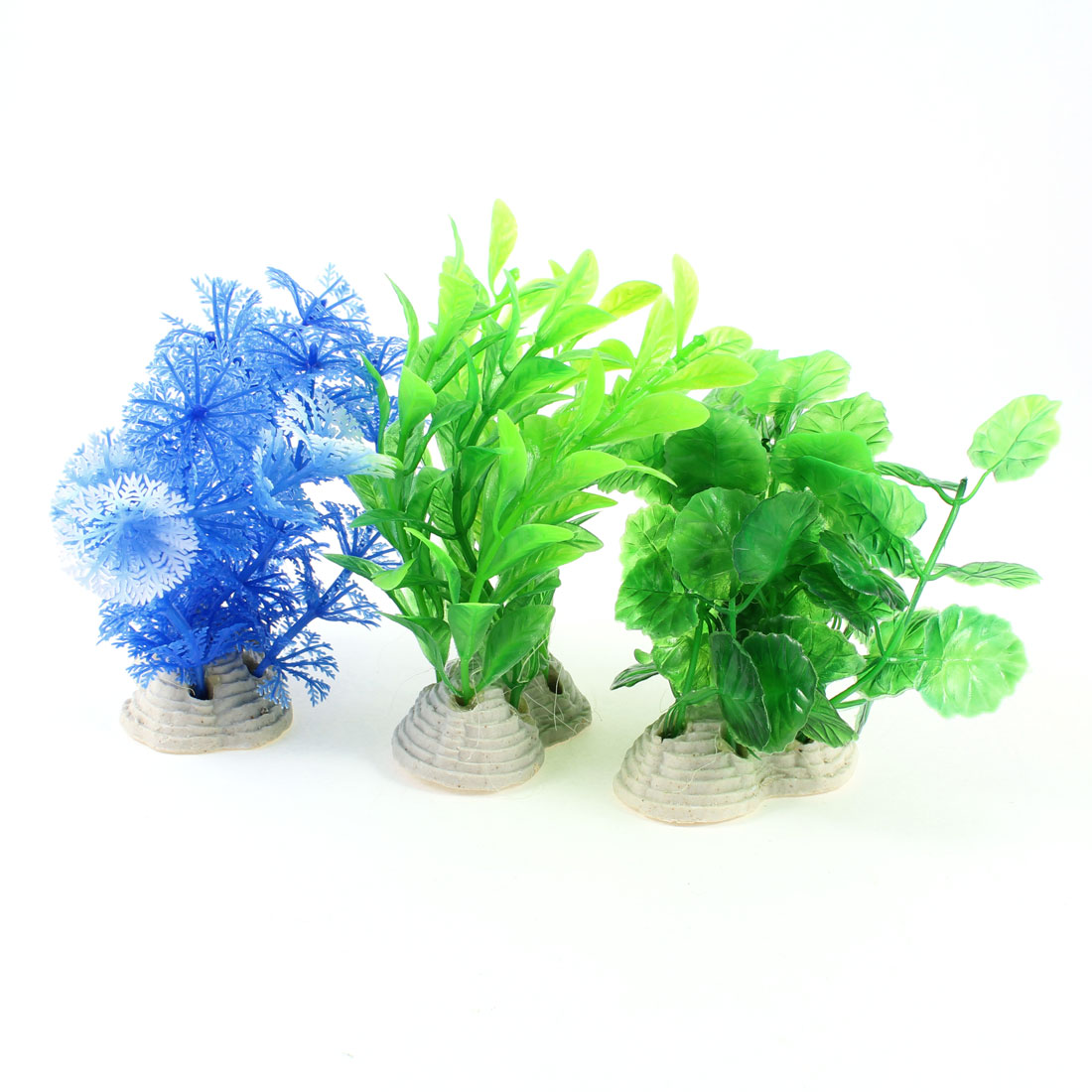 3 Pcs Aquascaping Decor Blue Green Artificial Water Plant w Ceramic Base