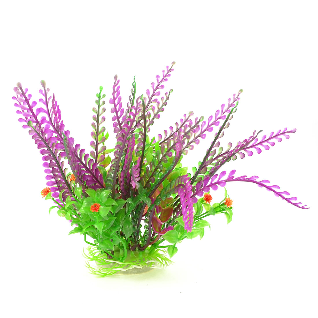 "8"" Aquarium Aquascaping Plastic Water Plant Grass Green Purple w Oval Base"