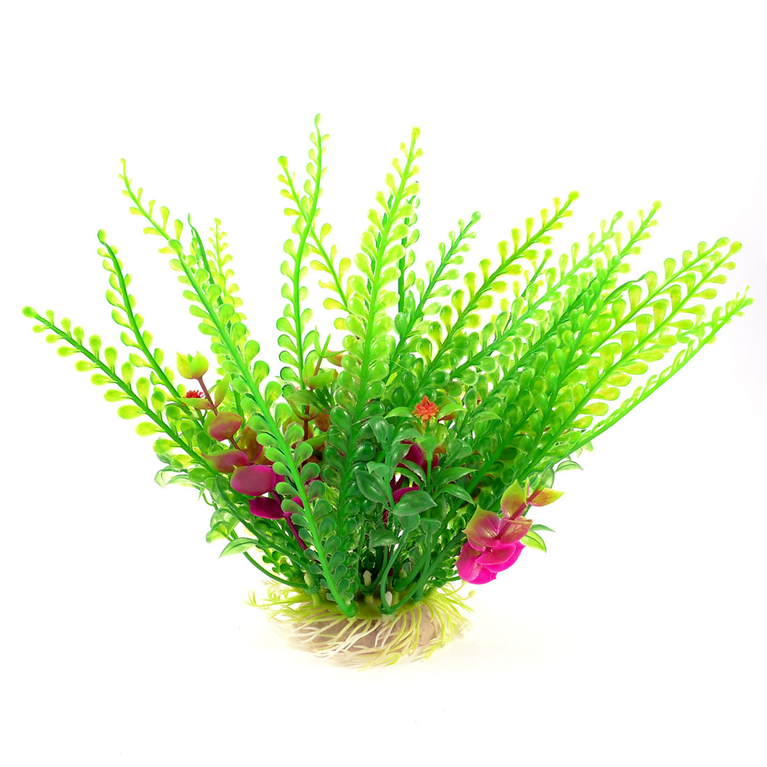 "8"" High Aquarium Decoration Manmade Underwater Plant Green Fuchsia w Ceramic Base"