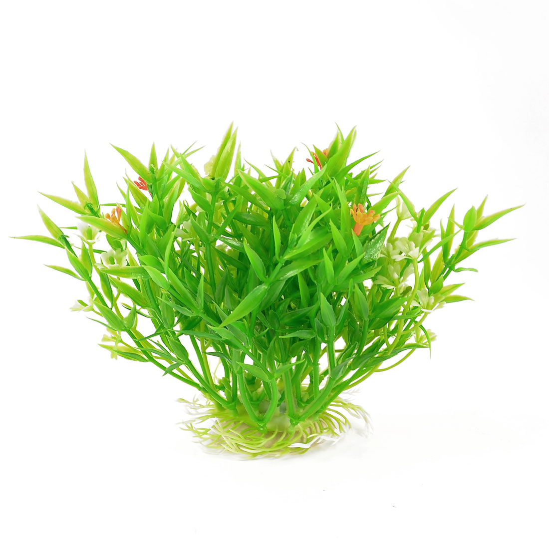 "Fish Tank Green Orange Plastic Water Plant Grass Decoration 5.5"" Height"