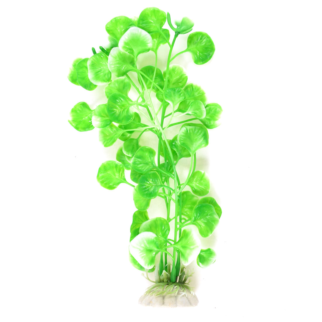 "8.7"" Height Plastic Underwater Plant Green White for Aquarium Fish Tank"