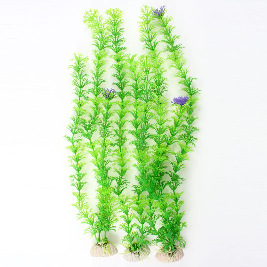 """3 Pcs Aquarium Aquascaping Decor Green Plastic Water Plants 15.7"""" High"""