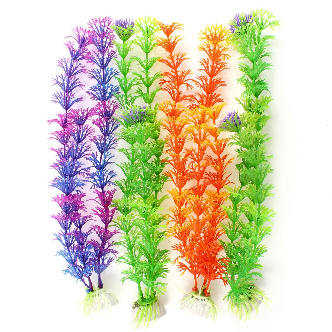 """4 Pcs Assorted Color Artificial Water Grass Aquarium Plant Ornament 9.8"""""""
