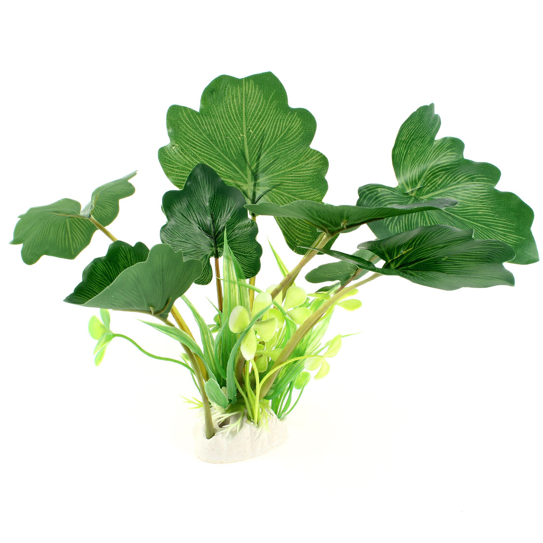 "8.7"" High Ceramic Base Plastic Water Leaf Plant Green for Fish Tank"