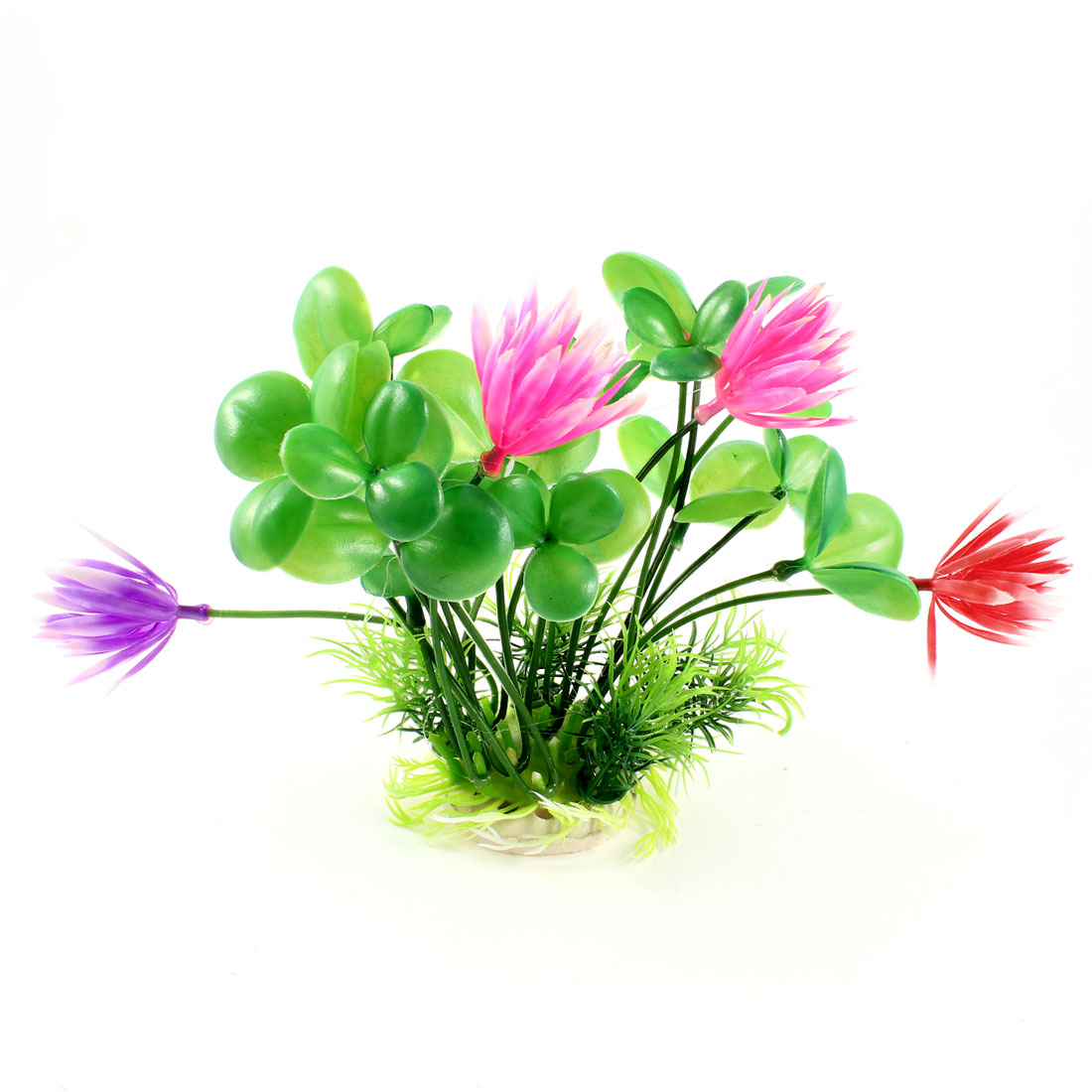 "6.5"" High Aquarium Landscaping Manmade Water Flower Plant Green Magenta"