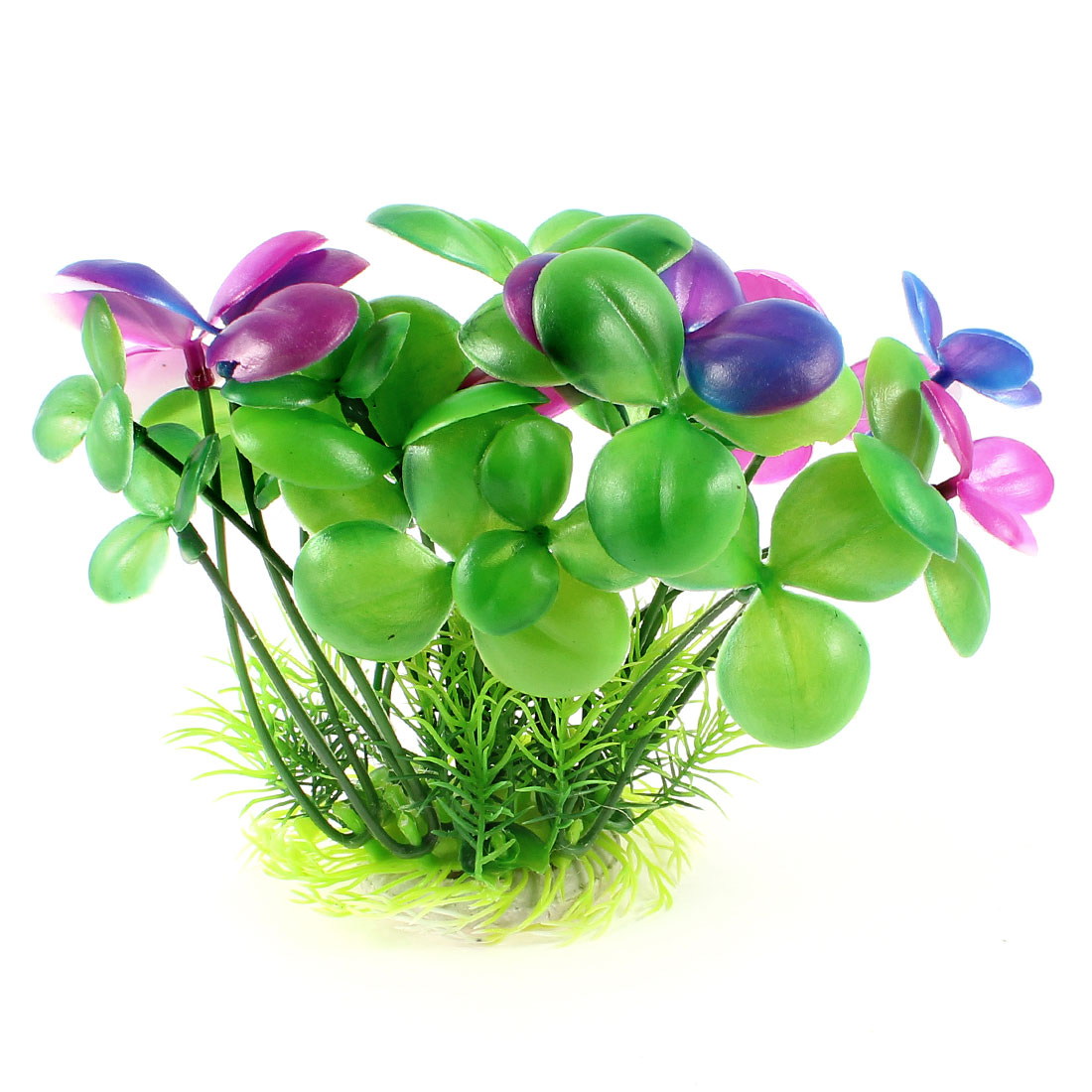 "6.3"" Aquarium Green Purple Artificial Underwater Flower Plant Decoration"