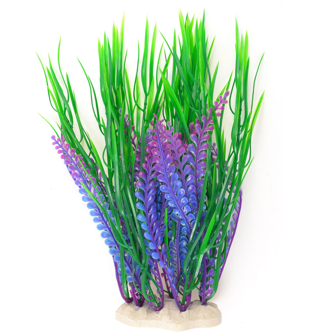 "10.4"" High Fish Tank Decor Artificial Water Grass Plants Green Purple"