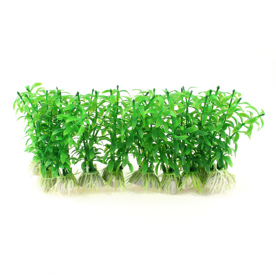 10 Pcs Fish Tank Aquascaping Decor Ceramic Base Plastic Water Plant Green