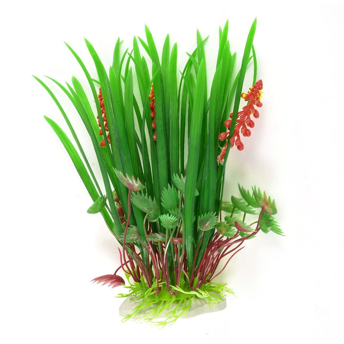 "9.1"" Landscaping Green Burgundy Artificial Aquarium Water Grass Plants Decor"
