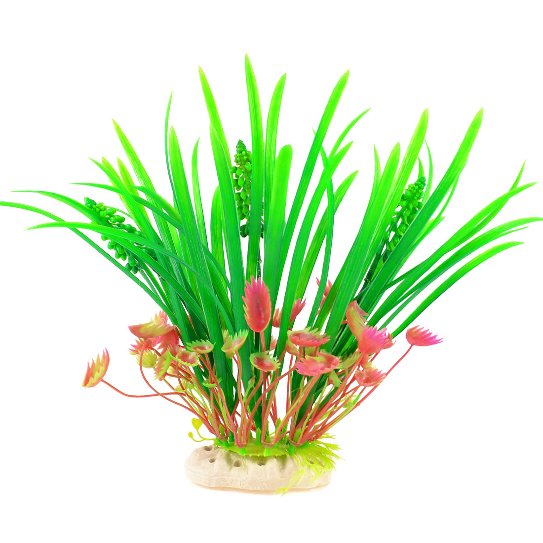 """9.4"""" Landscaping Decor Artificial Water Plant Green Fuchsia w Oval Base"""