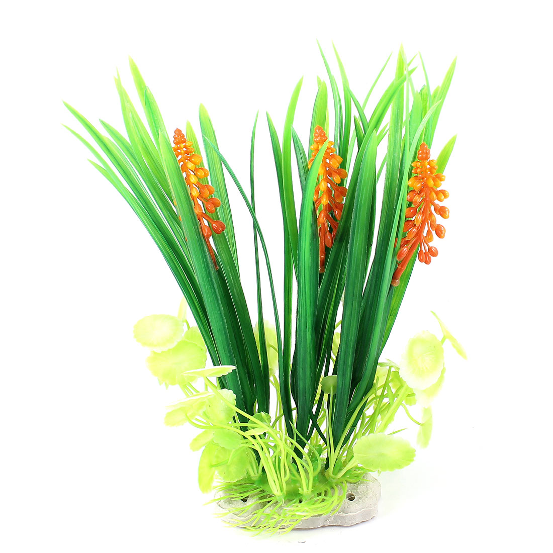 "9.1"" Fish Tank Decoration Landscaping Artificial Water Grass Plants Green White"