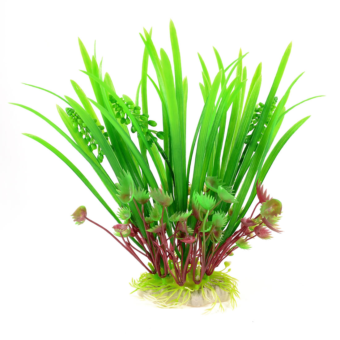 "Aquarium Ornament Plastic Water Plant Green Burgundy w Oval Base 3.3"" x 1.8"""