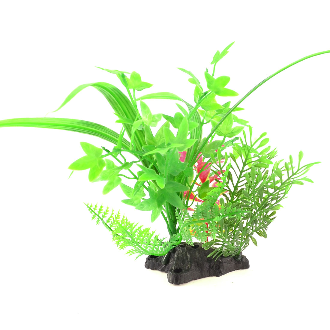 "9.8"" Fish Tank Landscaping Green Red Plastic Water Plant Grass Ornament"