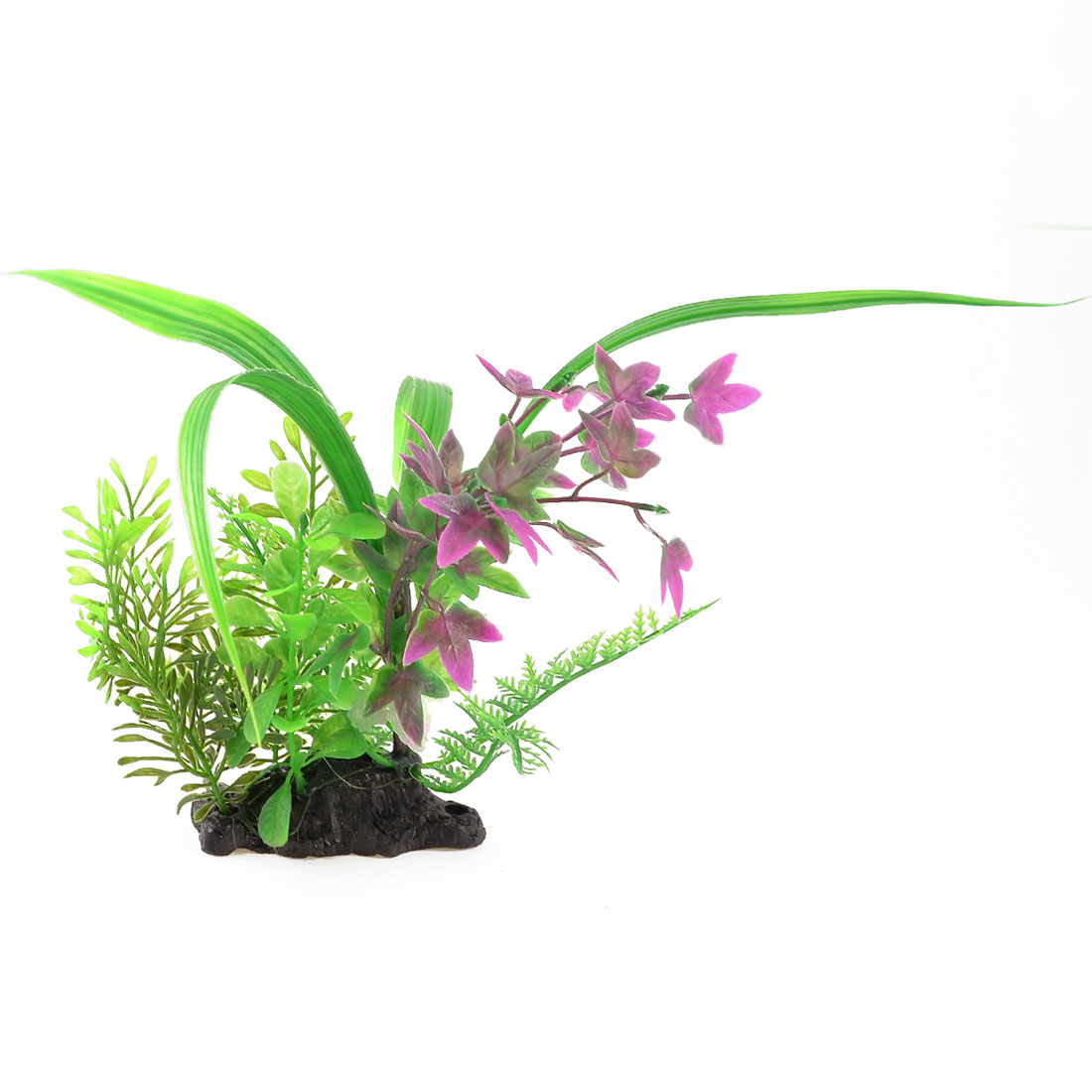 "9.4"" Fish Tank Landscaping Ornament Plastic Water Grass Plants Green Violet"
