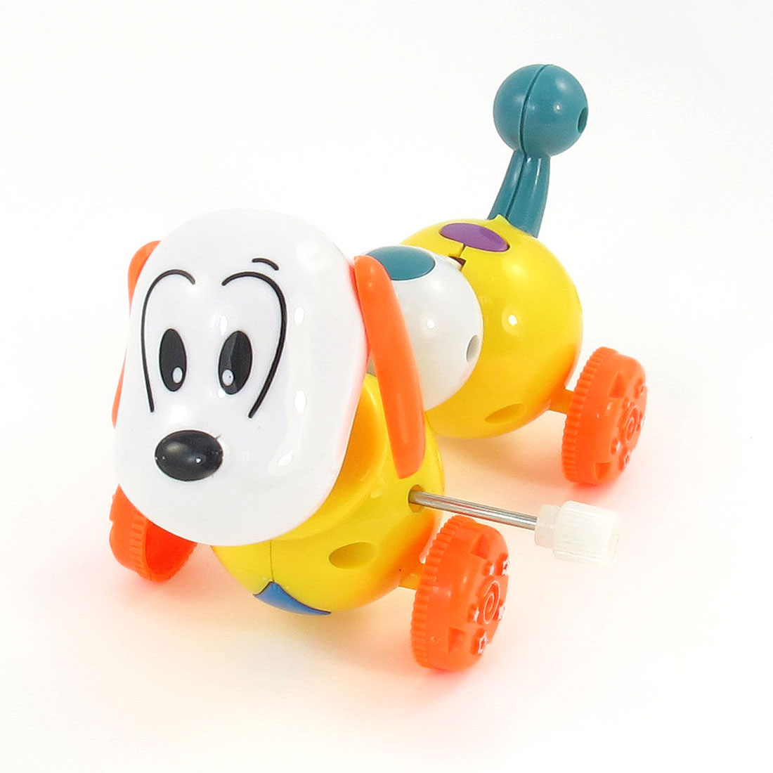 Children Gift White Orange Plastic Clockwork Wind Up Dog Toy