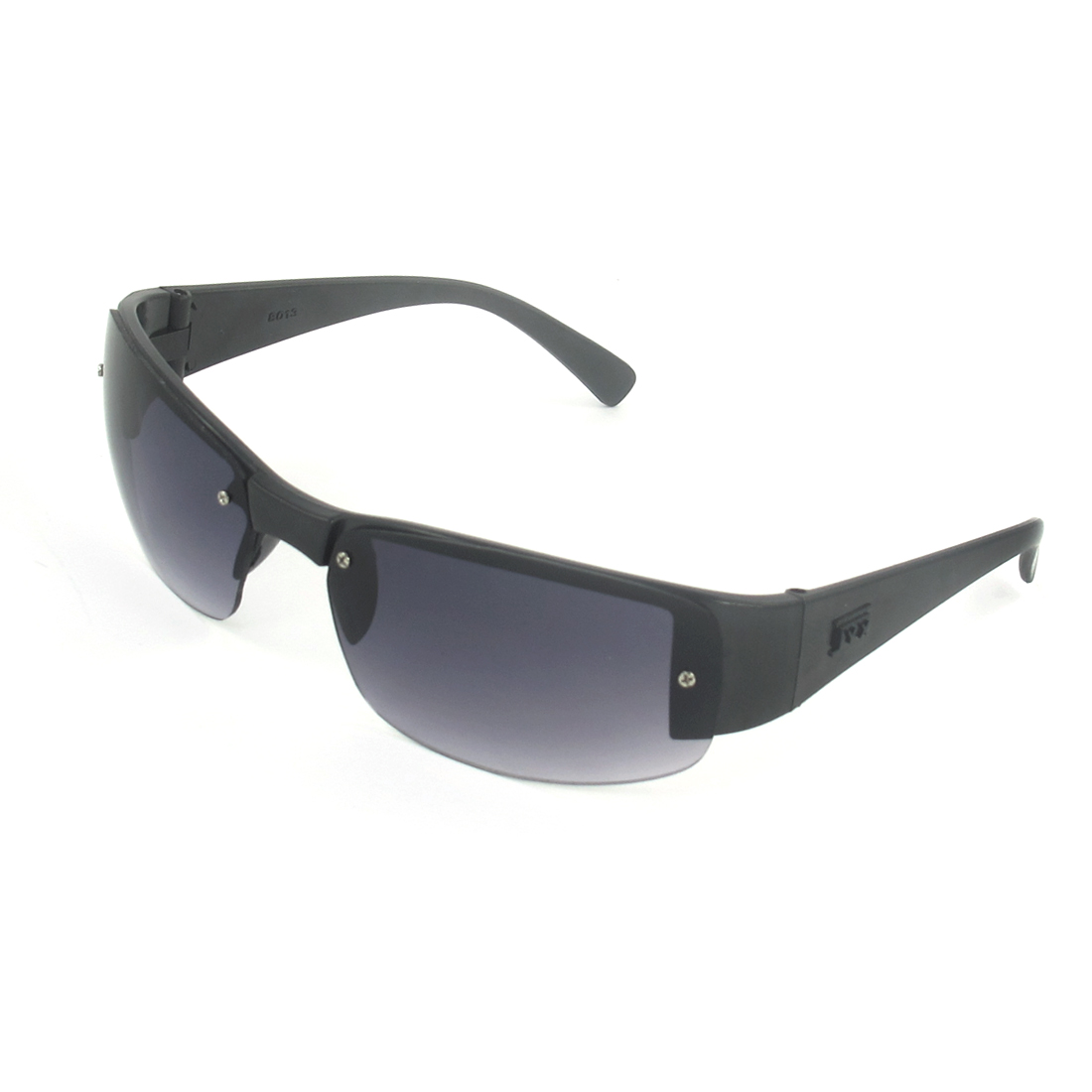 Men Women Handy Black Plastic Frame Dark Gray Lens Eyewear Glasses Sunglasses
