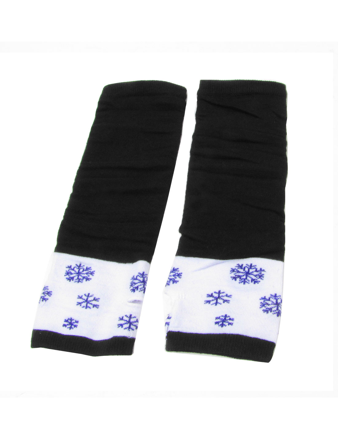 Pair Snowflake Print Elastic Wrist Arm Warmer Gloves Black White for Ladies