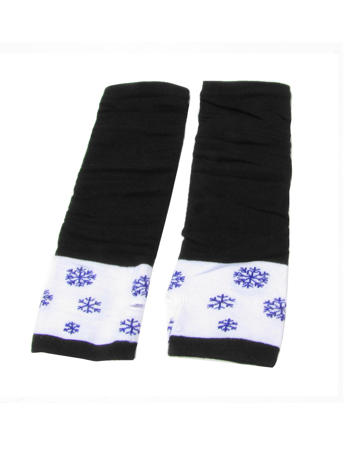 Pair Snowflake Print Elastic Wrist Arm Warmer Gloves Black White for Ladies