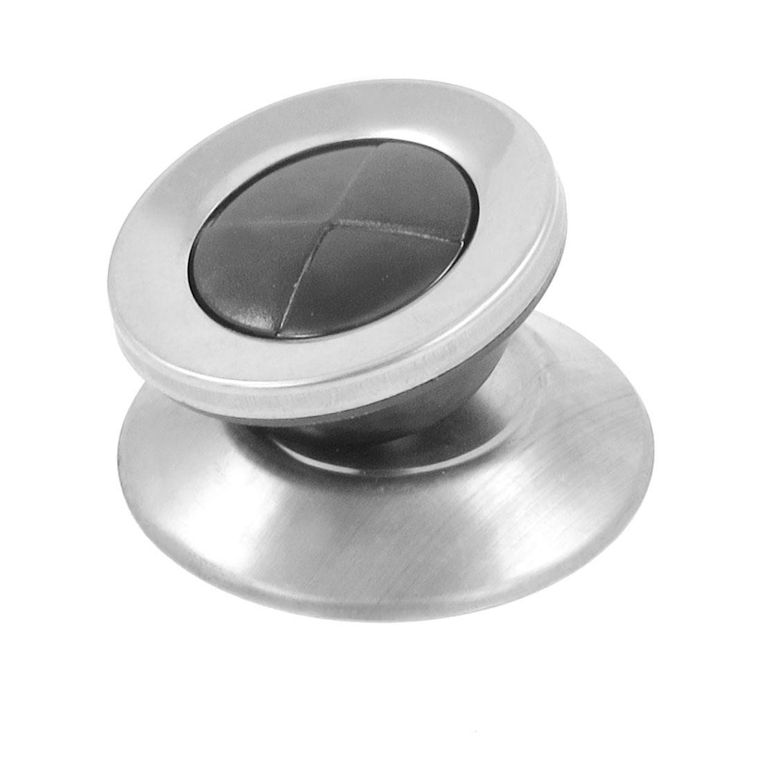 Kitchen Black Silver Tone Metallic Pot Lid Cover Handle Knob