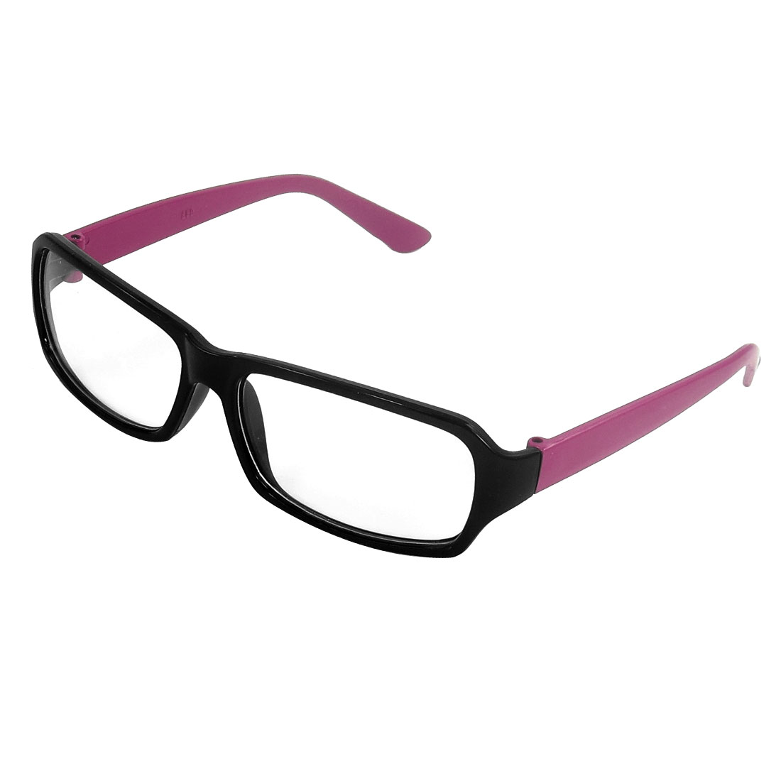 Black Plastic Full Frame Fuchsia Arm Plain Glasses Eyeglasses for Ladies