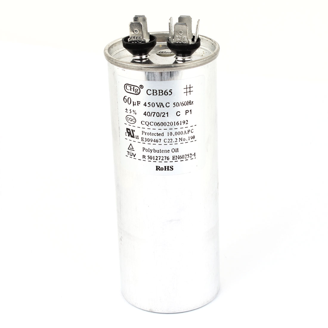 "AC 450V 50/60Hz 60uF Motor Run Capacitor for Air Conditioner 5.3"" High"