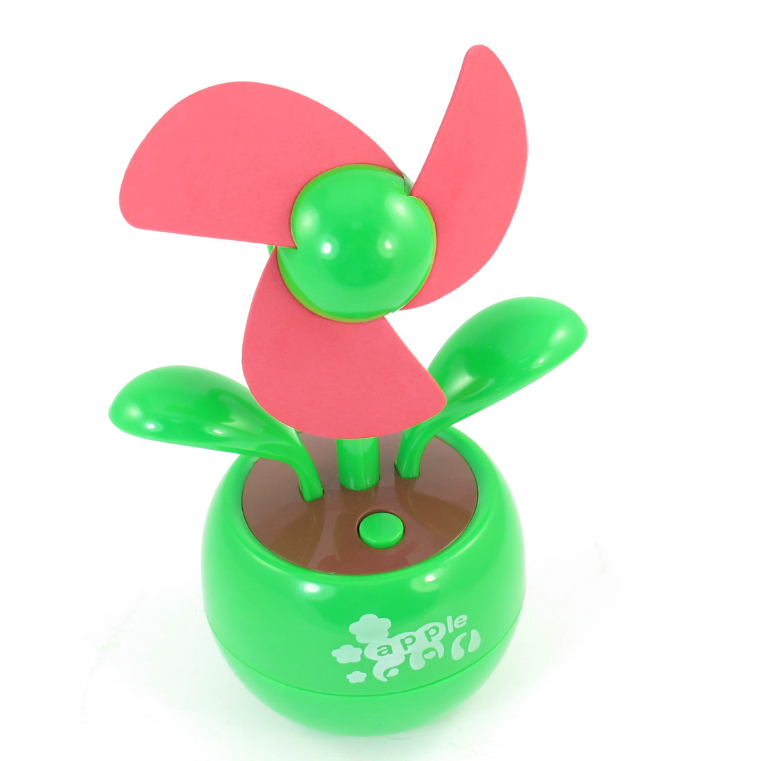 Red Green Plastic Shell Flower Design Cooling Desk Mini Fan w 2.4Ft USB Cable