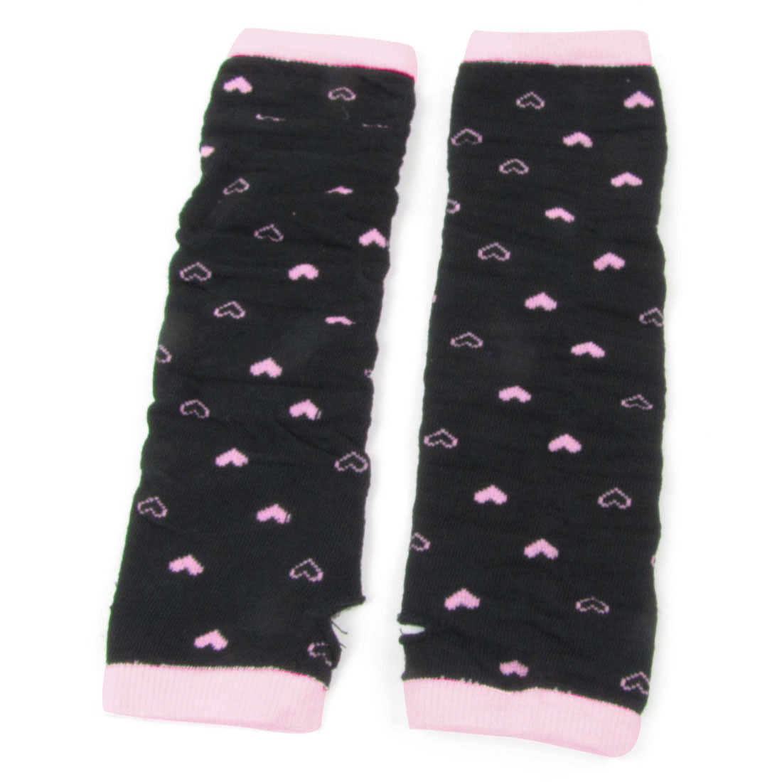 Pair Lady Hearts Print Knitted Elastic Arm Warmers Gloves Black Light Pink