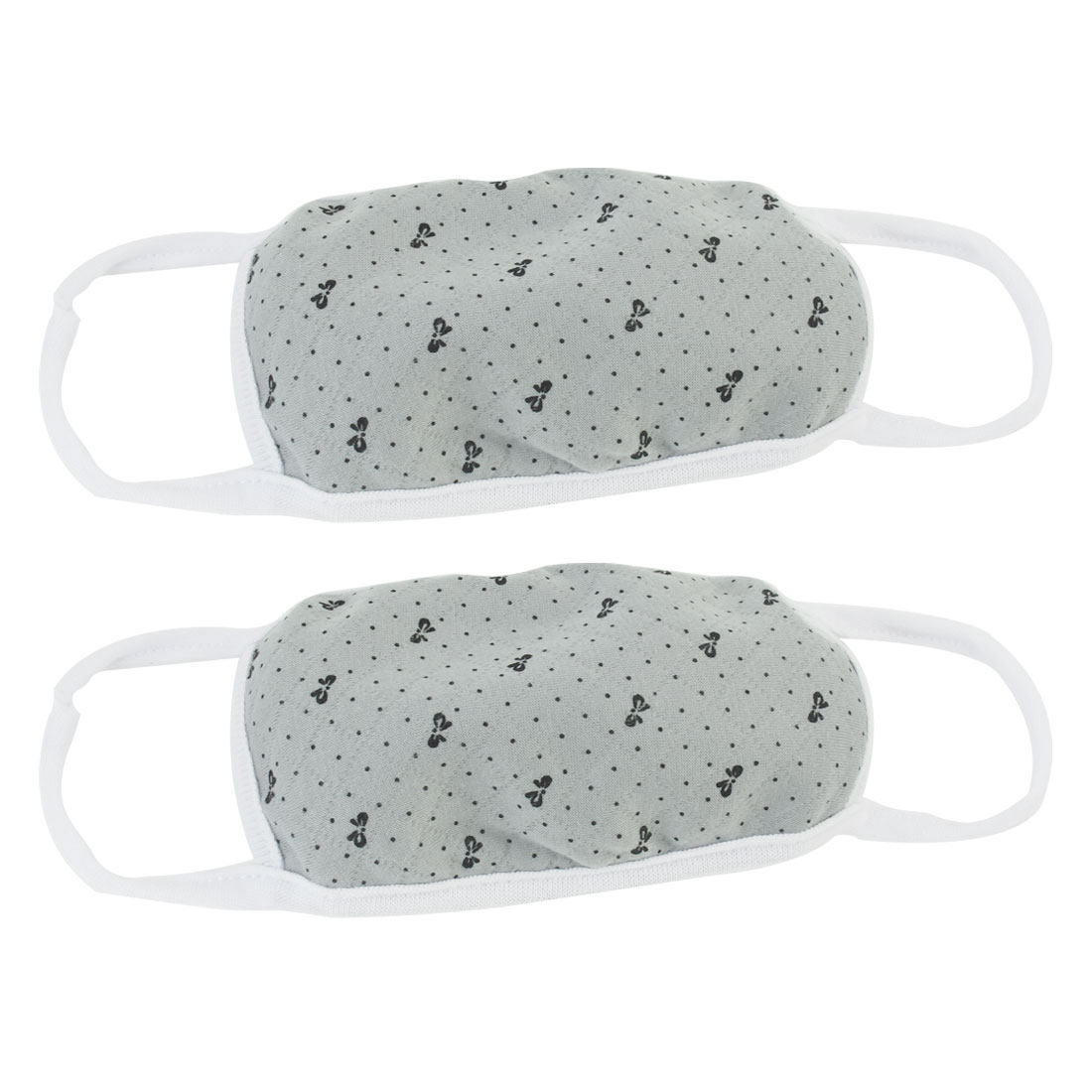 2 Pcs Dots Print Cotton Blends Acrylic Earloop Face Mouth Mask Muffle