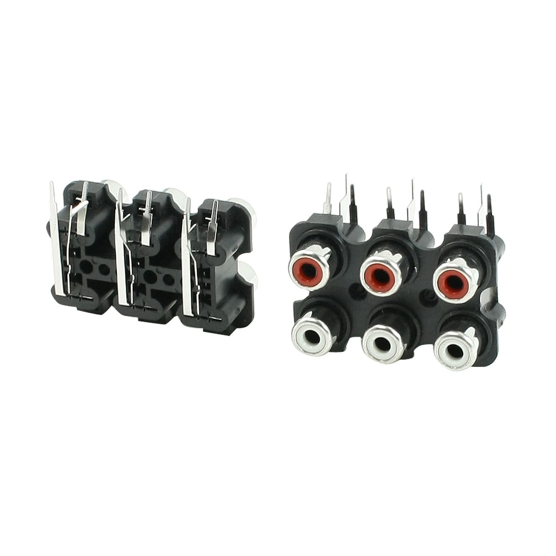 2 Pcs 6 RCA PCB Mount Female Outlet Jack Connector RCA Socket Black