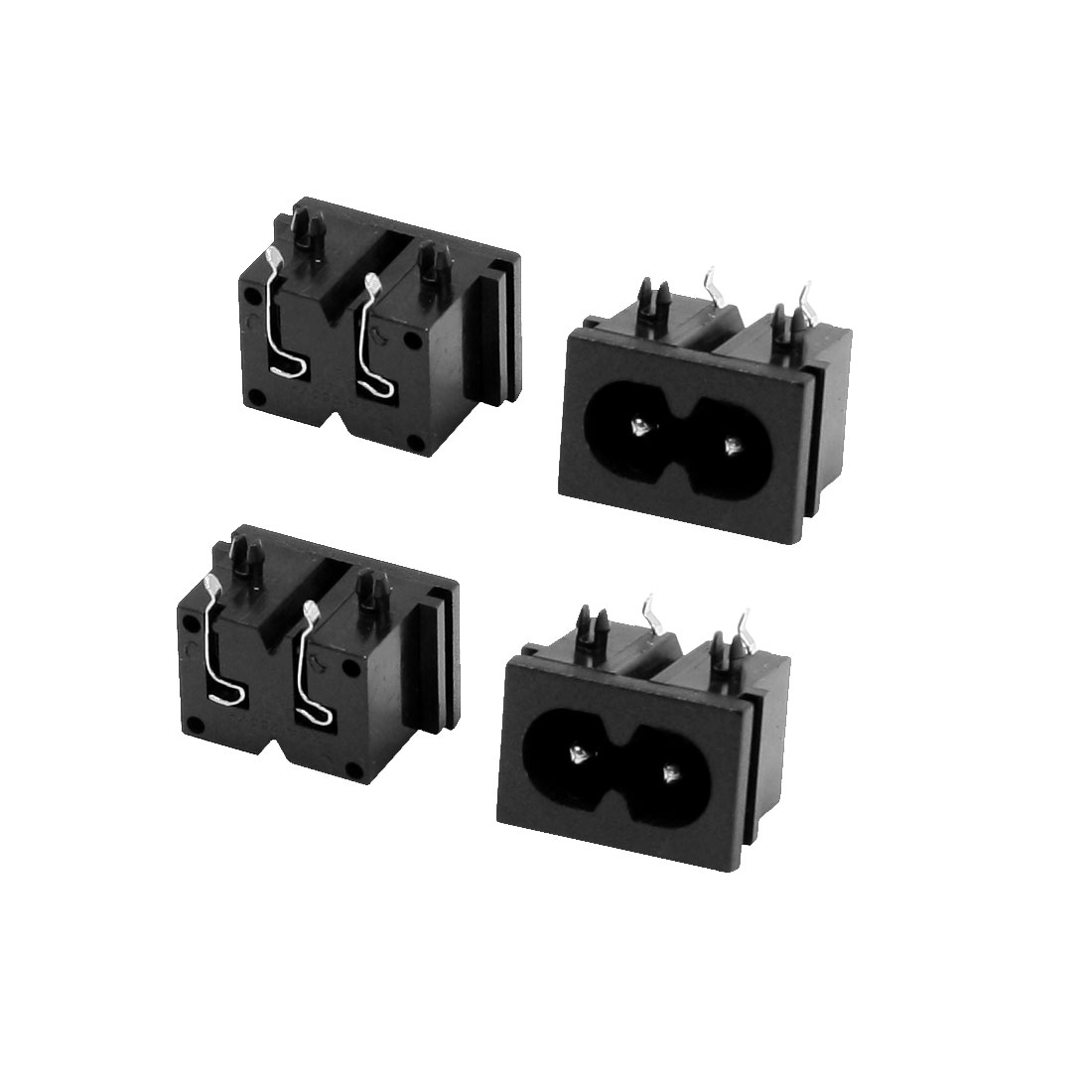 4 Pcs Electrical Black IEC320 Inlet C8 Power Adapter 250V 2.5A