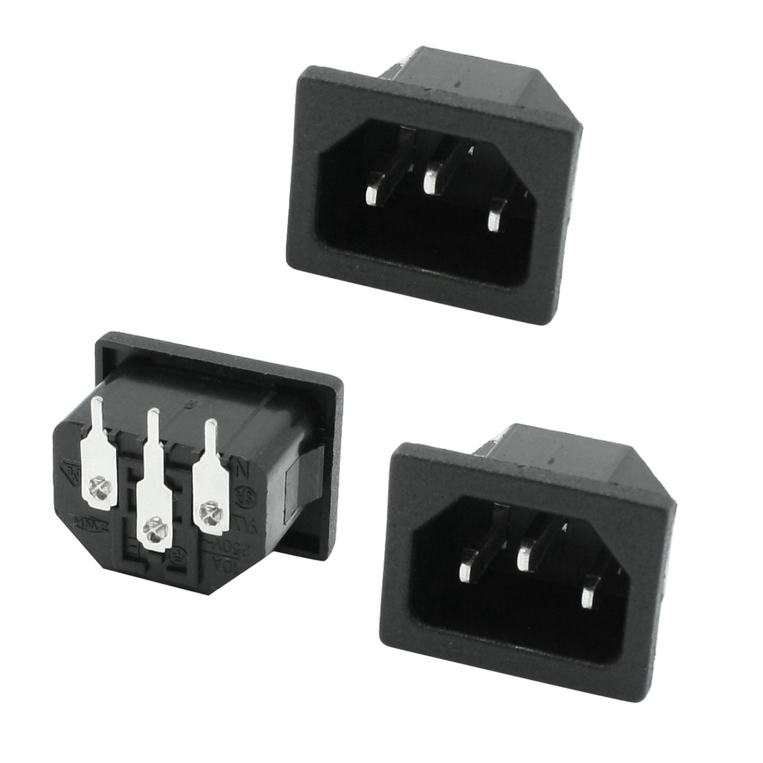 3 Pcs IEC 60320 Electrical Black C14 Plug Adapter 250V 10A