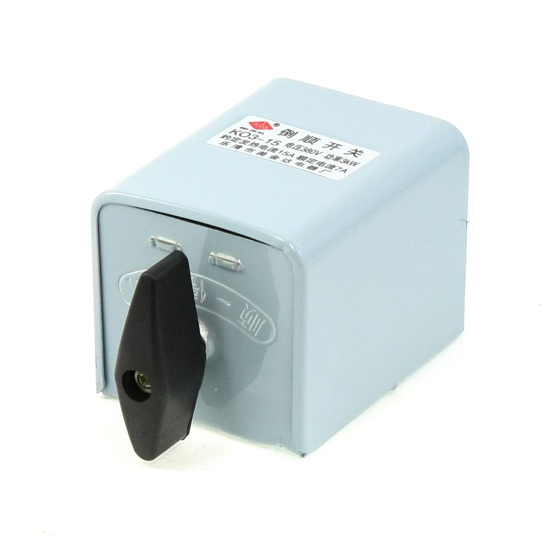 380V 3KW Rotary Motor Control Forward Reversing Changeover Switch KO3-15
