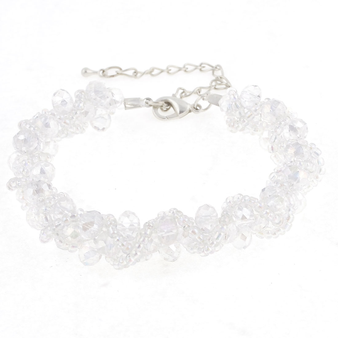 Jewelry Clear White Bead Chain Bracelet Bangle Decor for Ladies