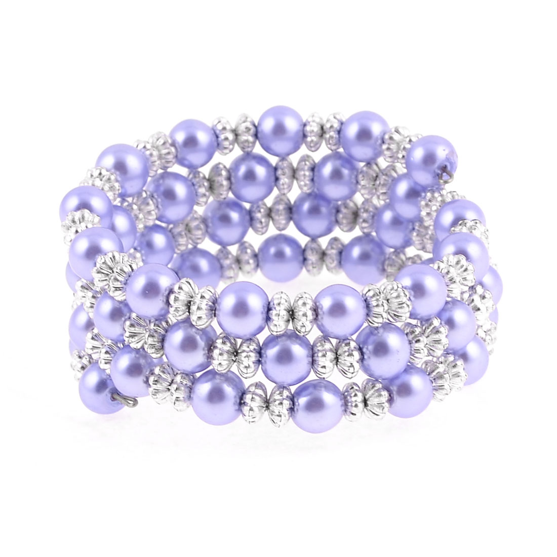 Multirow White Purple Faux Pearl Pumpkin Shape Beads Bracelet