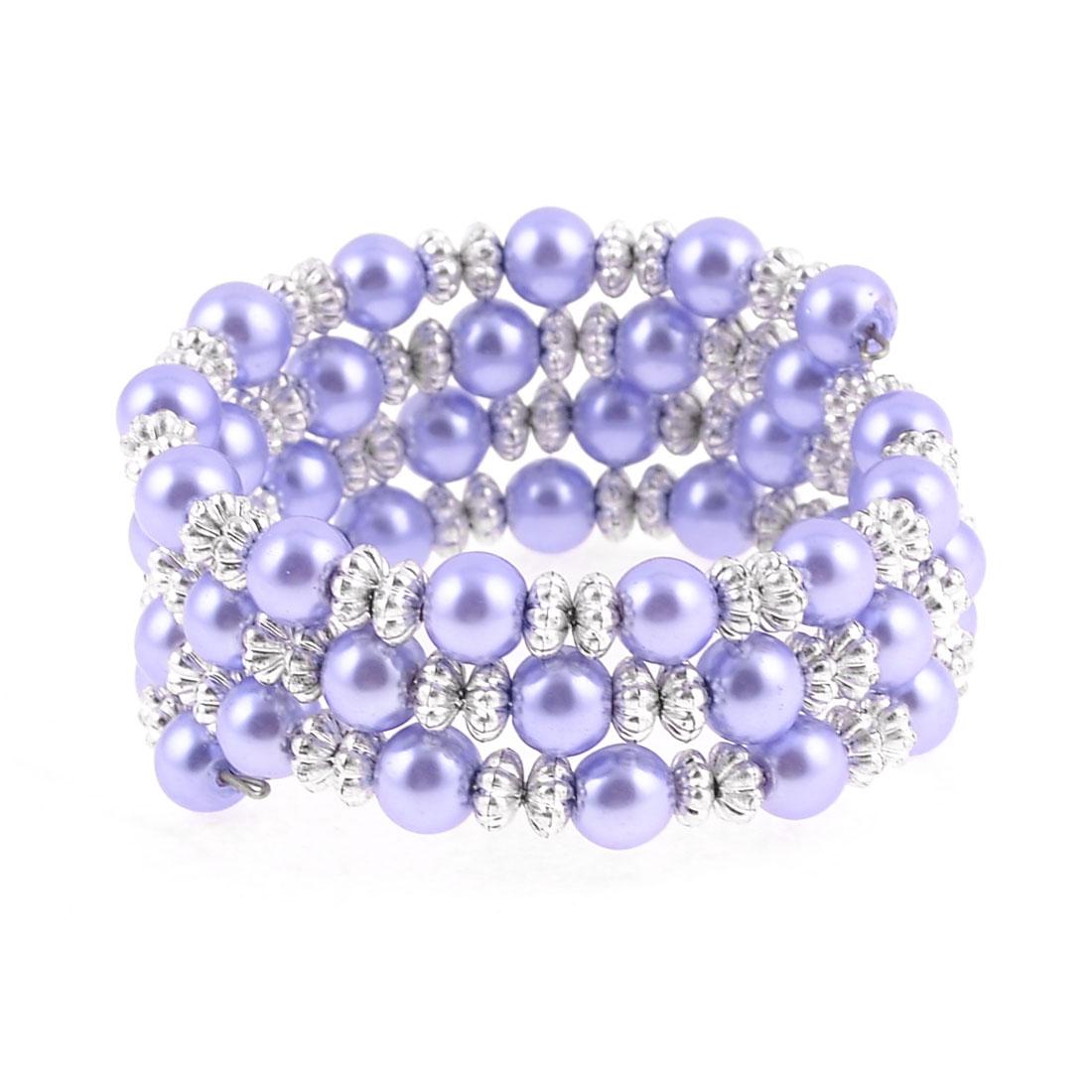 Multirow White Purple Imitation Pearl Pumpkin Shape Beads Bracelet