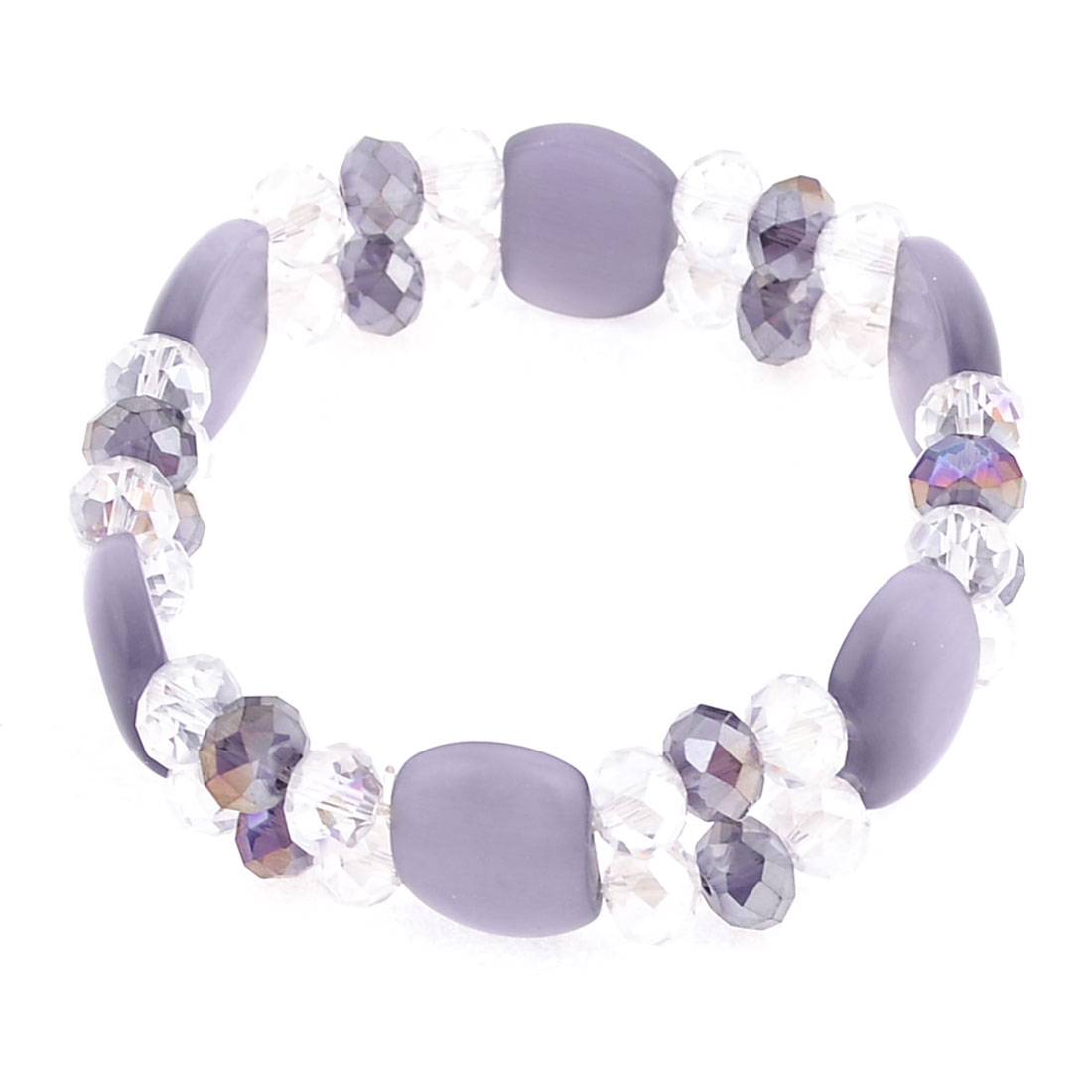 Light Purple Clear Dual Line Plastic Faceted Bead Crystal Bracelet Ornament