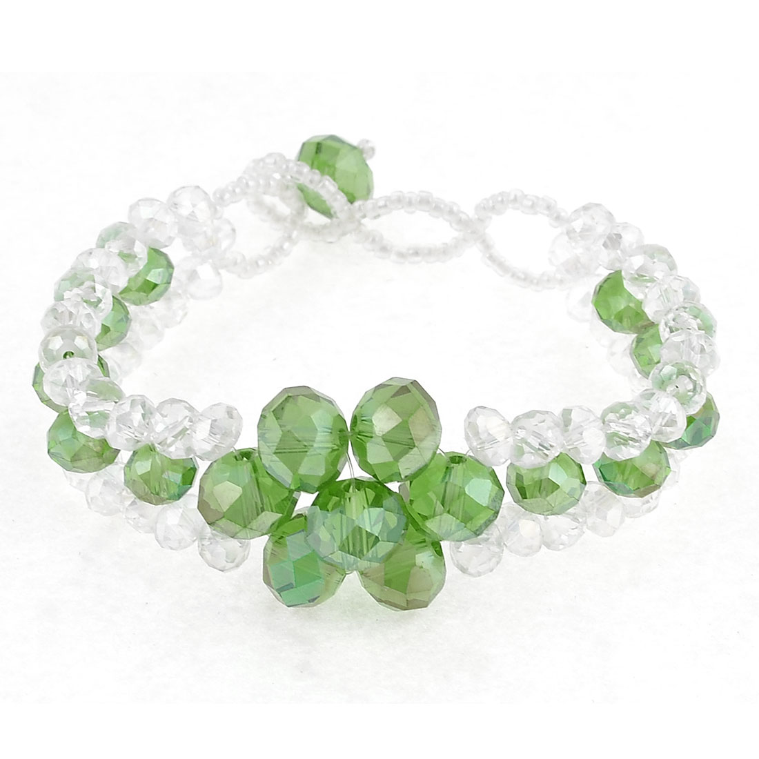 Women Faux Faceted Crystal 3 Rows Bracelet Decor Green Clear