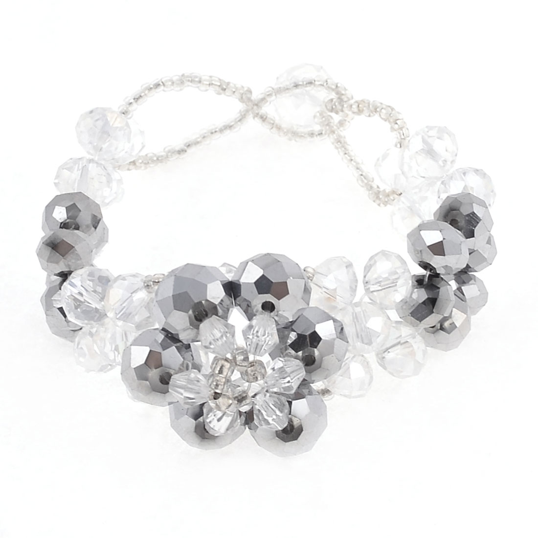 Lady Faceted Crystal Flower Shape Linked Bracelet Silver Tone Clear