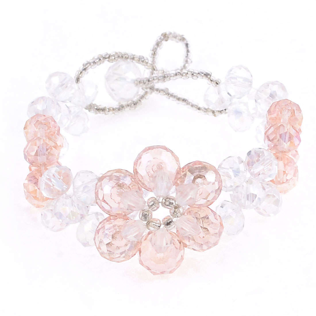Clear Pink Plastic Faceted Crystal Handmade Bracelet for Ladies