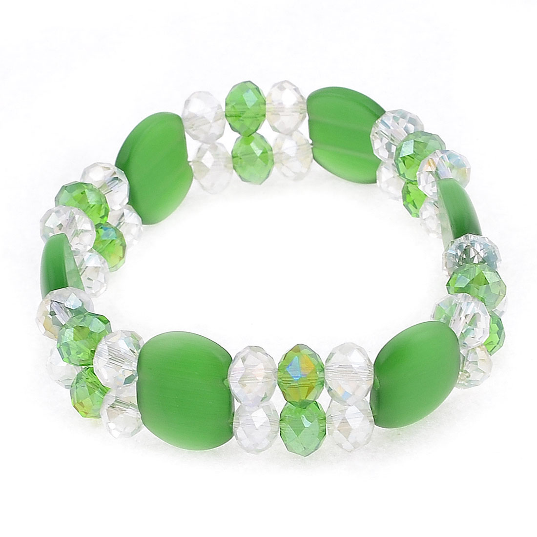 "Green Clear Stretchy Layered Plastic Rectangle Beads Crystal Bracelet 0.6"" Width"