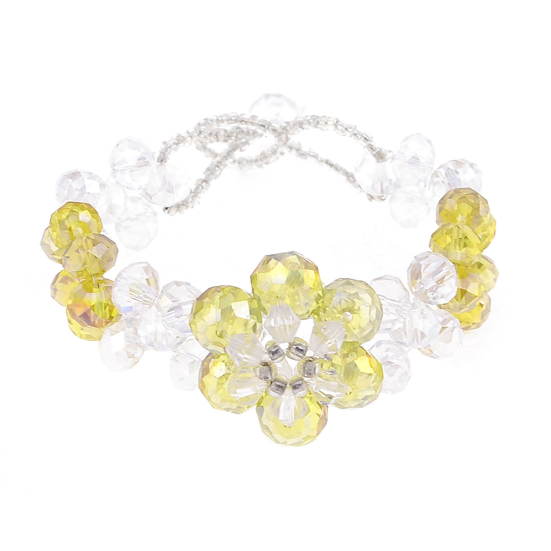 Clear Yellow Crystal Flower Design Link Bracelet Accent for Ladies