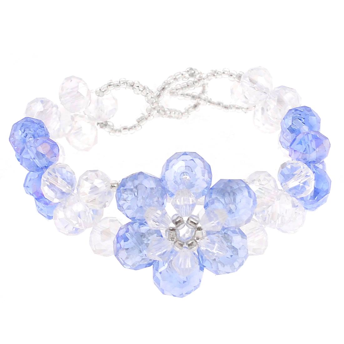 Light Blue Clear Plastic Rhombus Printed Crystal Linked Bracelet