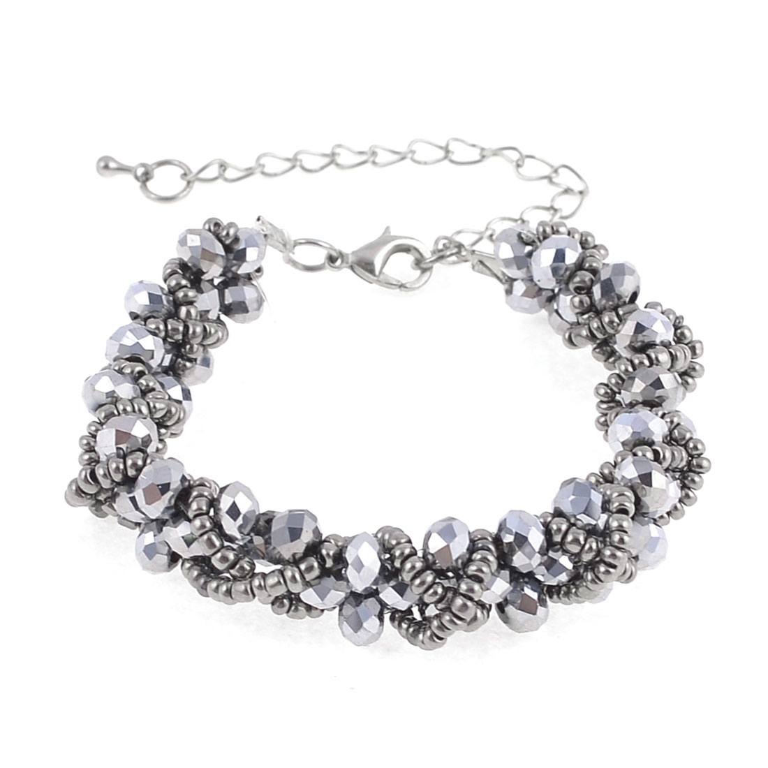 Lady Lobster Hook Silver Tone Plastic Beads Decor Chain Bracelet